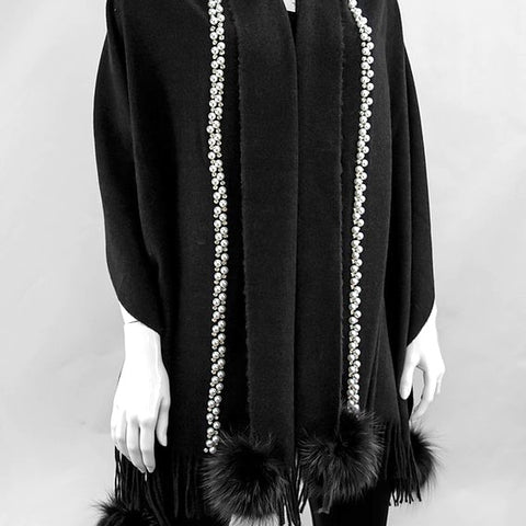 Black Woven Scarf with Pearls Details and Fox Pom Poms
