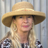 "Tan Color Hat with Wooden Beads Trim  Adjustable  3"" Brim  UPF 50+sun n sand by two b's accessories"