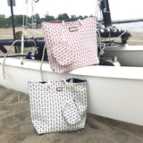 "Anchors away pattern beach or boat bag. Plenty of pocket inside and an added pouch or wallet for securing valuable. 21""W x 17""Hby Two B's Accessories"