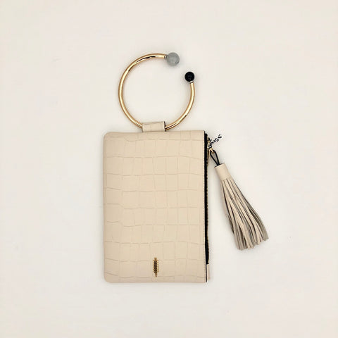 Nolita Embossed Croco Leather Clutch with Golden Beaded Handle Ring by thacker and two b's accessories