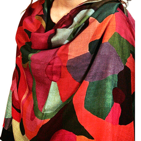 Warm Colors Abstract Wool Scarf