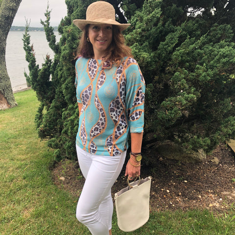 Italian Chenille Top with Ivory Faux Leather Bag and Cotton Crushable Hat Bundle - 20% OFF