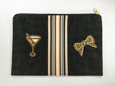 Fabric Clutch with beads details.