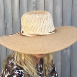 "Tan Toyo Large Brim Hat with faux suede trim and two tone on top. 4.5 "" Brim UPF 50+sun n sand by two b's accessories"