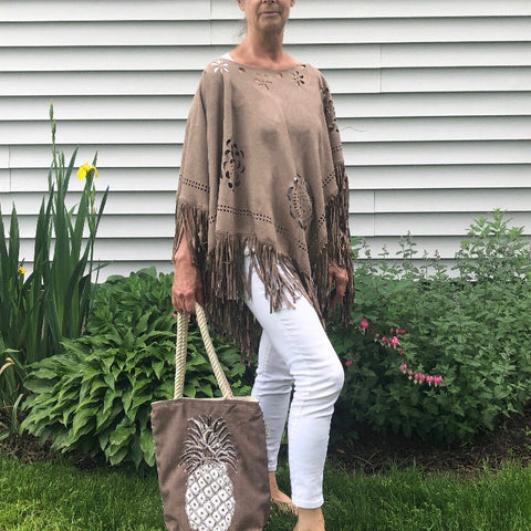 Faux Suede Poncho with Fringe with Pineapple Beach Tote Bundle - 10% OFF