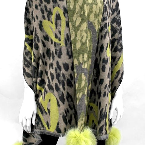 Woven Scarf Animal and Hearts Scarf with Lime Fox Pom Poms