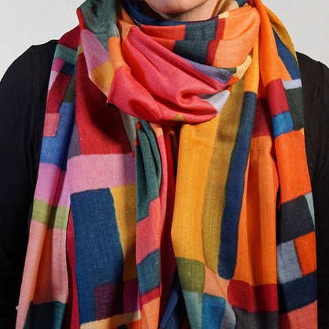 Rainbow Rectangles Wool Scarf