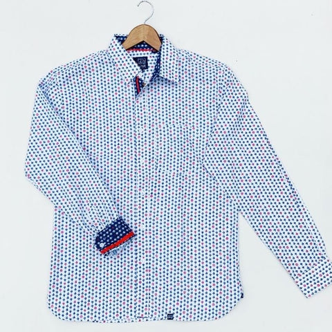 Long Sleeve  Men Shirt with Sailboat Pattern