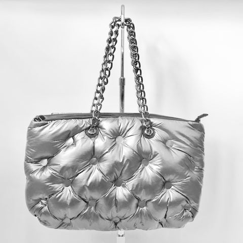 Silver Puff Quilted Zippered Tote with Chain Strap