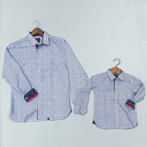 Long Sleeve Father - Son Shirt Set with Sailboat Pattern