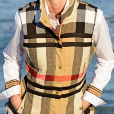 Tan Plaid Flannel Vest