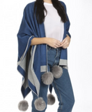 Cape with Faux Fur Pompom Jayley