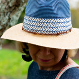 Denim Paper Braid Hat with Faux Suede Trim