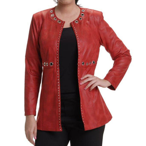 Red Faux-Suede Jacket