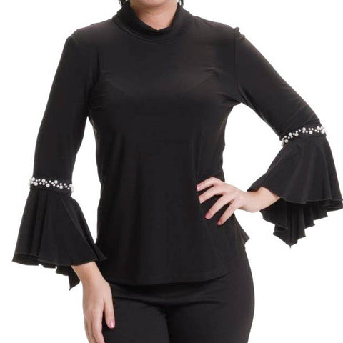 Black Top with Sleeves and Pearl Cuff