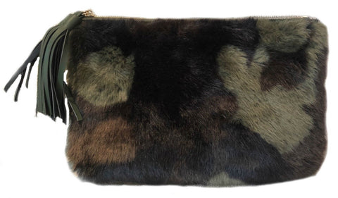 Camo Faux Fur Clutch with Faux Leather Tassle