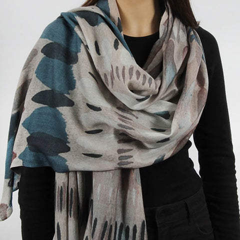 Grey and Blue Scarf