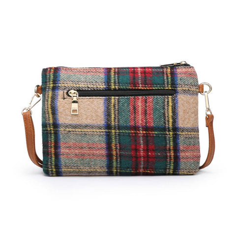 Small Checkered Flannel Bag Green and Red