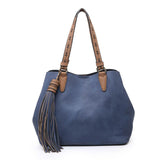 Two in One Large Vegan Leather Satchel with Tassle