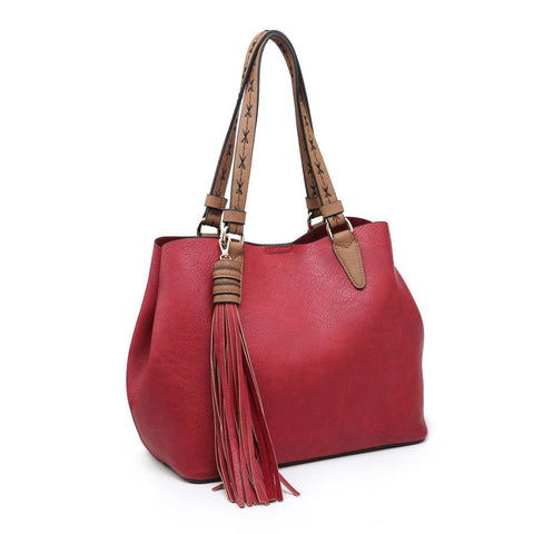 Two in One Vegan Leather Satchel with Tassel
