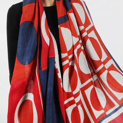 Geometric red, white and blue wool scarf