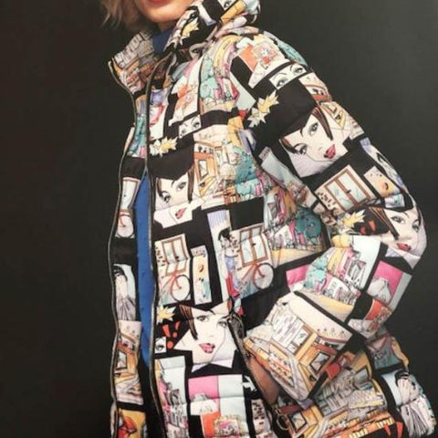 Bella Isabella Long Jacket with Comic Print