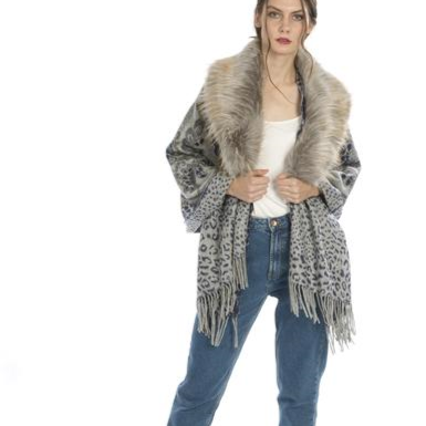 Wool Reversible Shawl with Faux Fur Collar