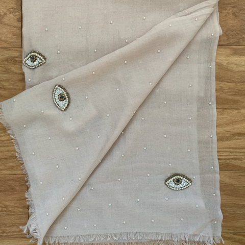 Hand Embroidered Wool/Cashmere blend scarf embellished with pearls and beads eyes  Pale Pink