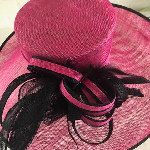 Fuchsia Black Sidesweep Sinamay Dress Formal Hat