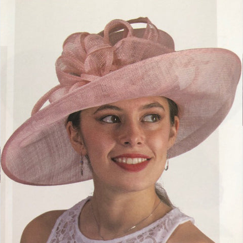 Light Pink Sinamay Straw Hat
