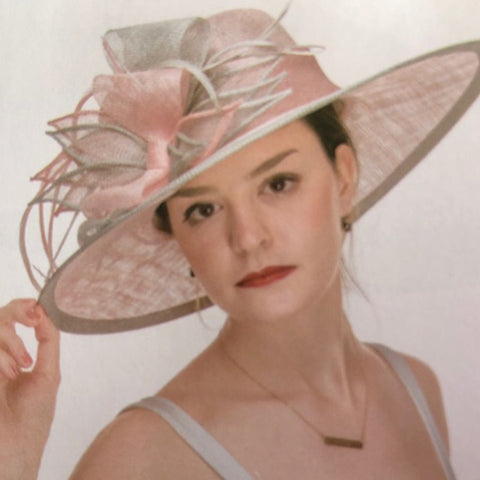 Light Pink and Grey Sinamay Hat