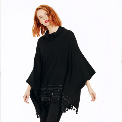 Black Poncho with Beads