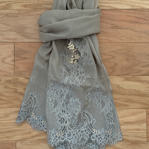 S- Taupe Two tone Lace Shawl
