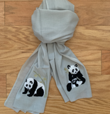 S- Embroidered Light Grey Panda Scarf
