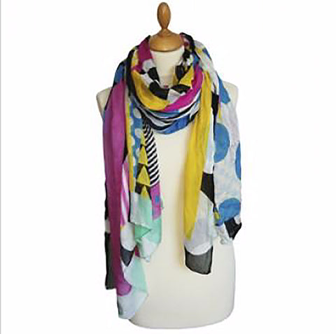 Polka Dots and Squares Multicolor Scarf by Italca