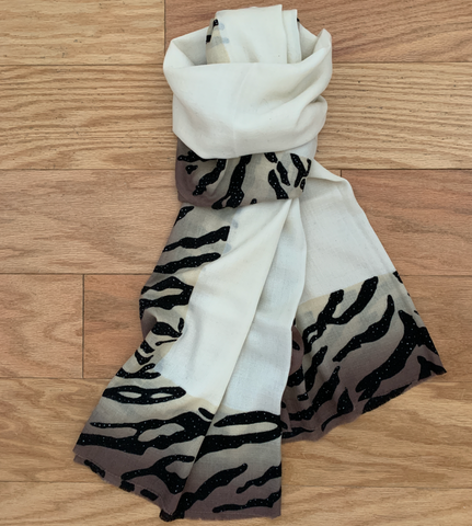 S- Ivory Scarf with animal print border and sequences