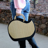 Handmade in Cambodia Weaved Bag with round handles