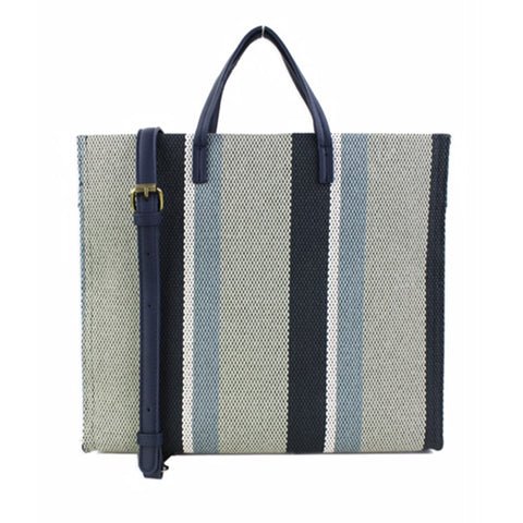 Elegant Blue Canvas Tote with multiple inside pocket and a long detachable strap.