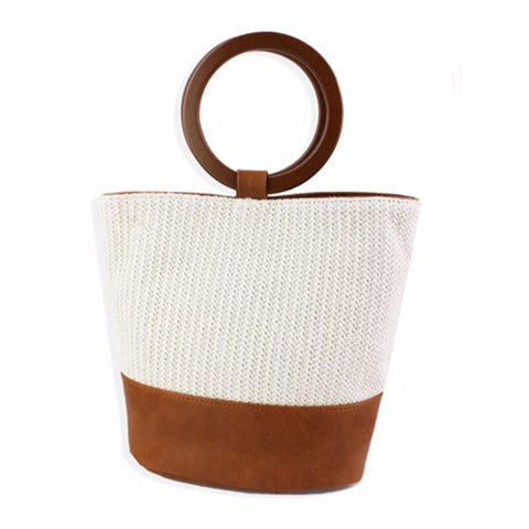 Round Handle and Fabric Summer Bag