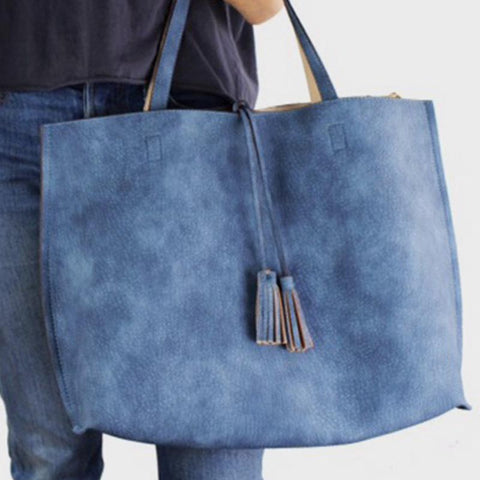 Vegan Leather Reversible Denim Bag