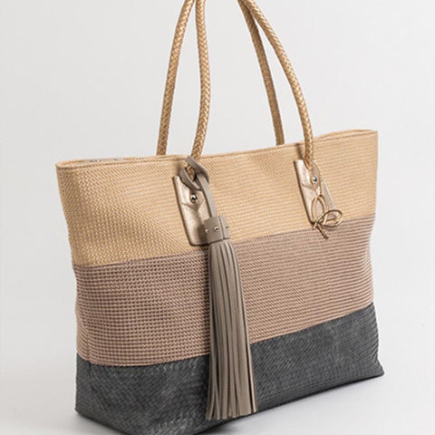 Canvas and Vegan Leather Tote by Pia Rossini
