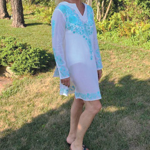 Knee length  embroidered tunic or bathing suit cover up.  100% Cotton