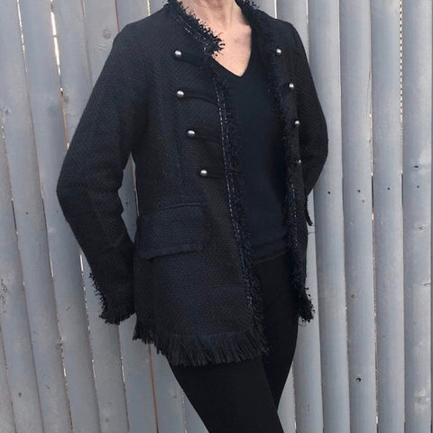 Black casual fun jacket with fringes