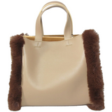 vegan leather bag with faux fur trims