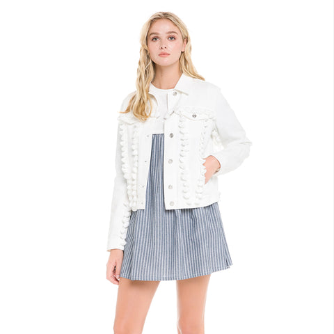 Off-White jean jacket with fun tassels details. True to size.  A fun addition to any outfit in summer