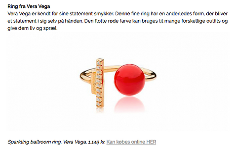 VERA VEGA colourful Sparkling Ballroom ring featured in IN Magazine