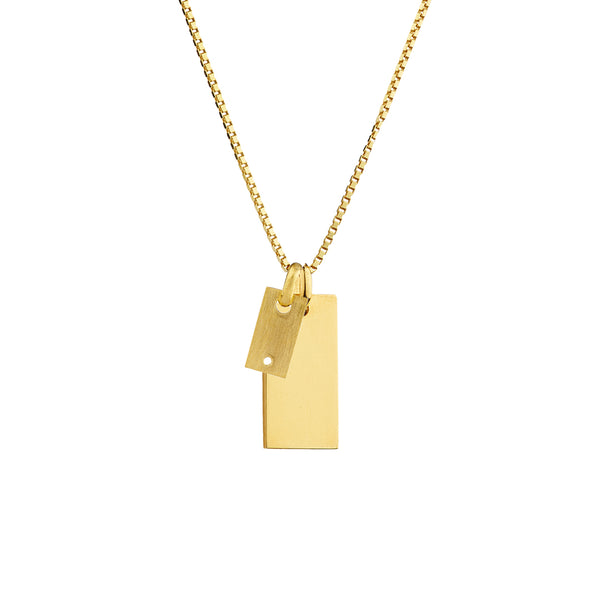Diamond Mini Signet X Signet Necklace MIX - Silver/OX/Gold