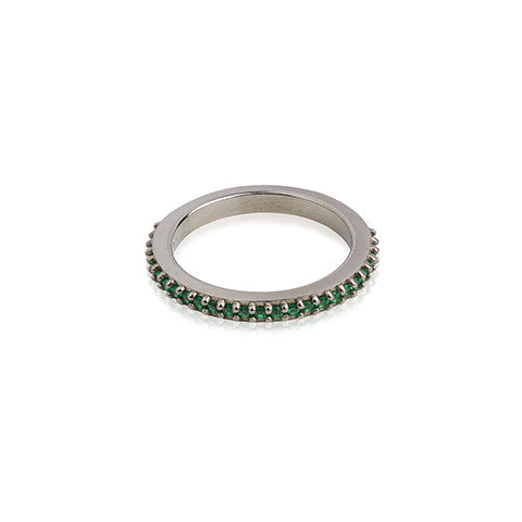 Oxidised feminine woman's ring with green zircon stones, VERA VEGA designed jewellery