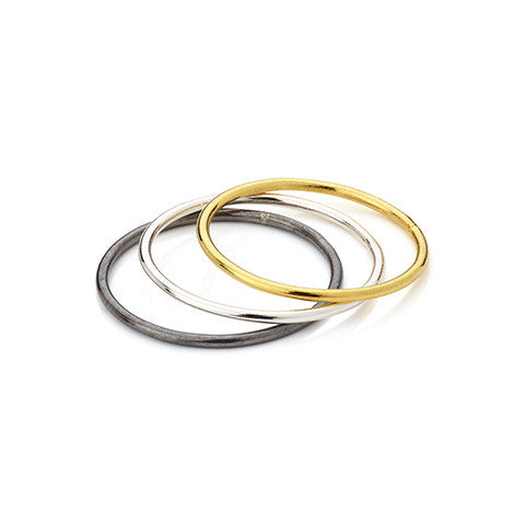 Three stylish woman's rings, VERA VEGA designed jewellery, gold ring, silver ring, oxidised ring