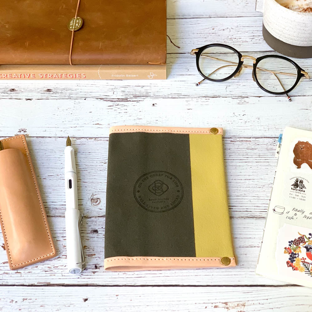 A6 Notebook Cover // Forest Khaki with Mustard